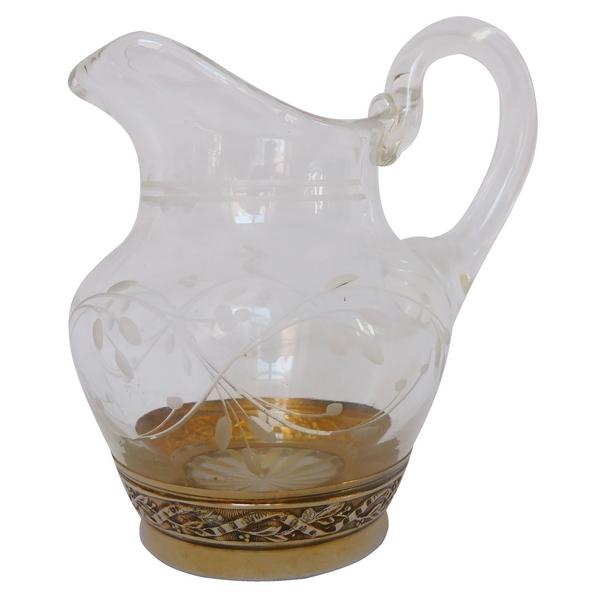 Charmant pot à lait / crème de style Louis XVI en cristal de Baccarat et vermeil, poinçon Minerve