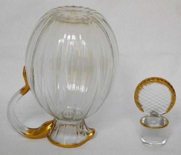 pichet carafe eau en cristal ou verre dor par daum sign. Black Bedroom Furniture Sets. Home Design Ideas