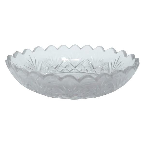 Porte-savon ou épinglier en cristal de Baccarat, cristal taillé à palmettes