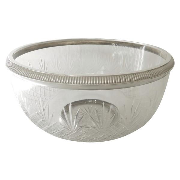 Saladier en cristal de Baccarat, monture en argent massif, poinçon Minerve