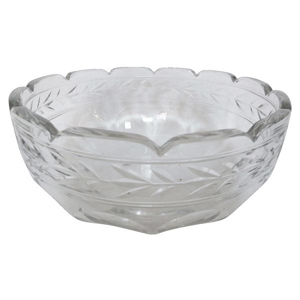 Luxueux saladier en cristal de Baccarat, modèle Lauriers