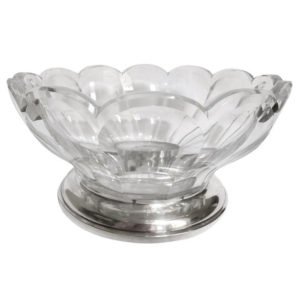 Saladier en cristal de Baccarat, modèle Malmaison, monture en argent massif, poinçon Minerve