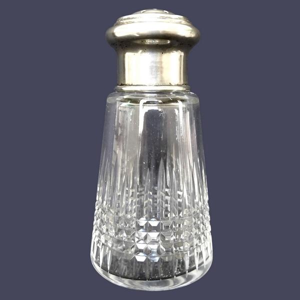Saupoudreuse - sucrier en cristal de Baccarat, modèle Nancy, monture en métal argenté