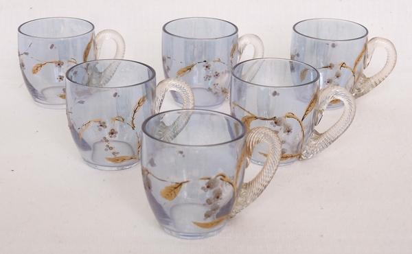 Service à liqueur en cristal de Baccarat irisé doré à l'or fin, époque fin XIXe, étiquette
