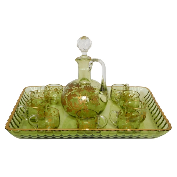 Service à liqueur en cristal de Baccarat vert d'eau rehaussé à l'or fin