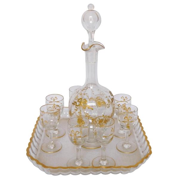 Service à liqueur en cristal de Baccarat doré, 10 pièces