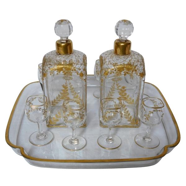 Service à liqueur en cristal de Baccarat doré à l'or fin, fin XIXe siècle, 11 pièces