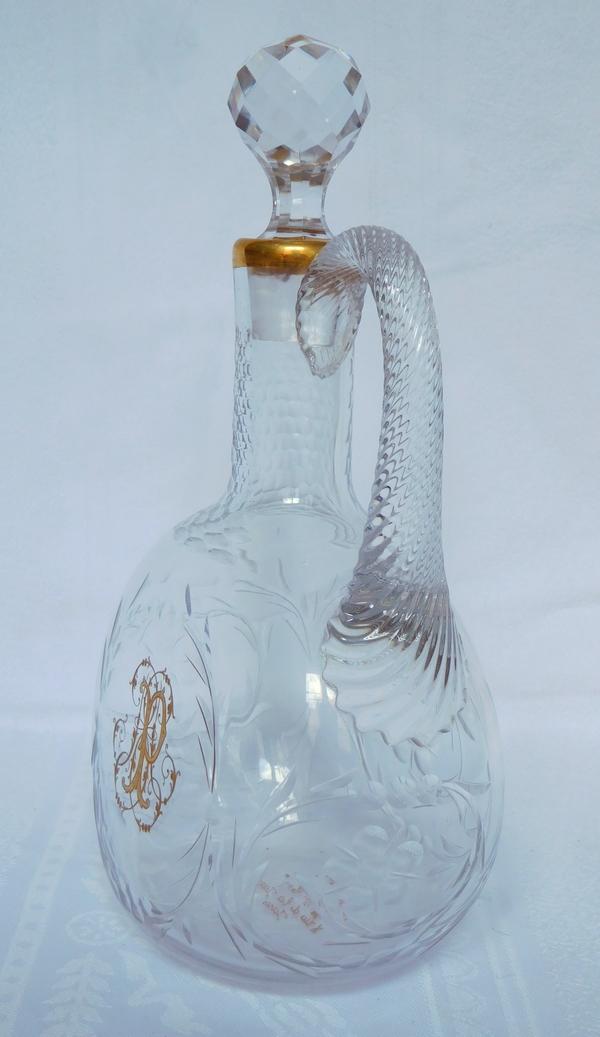 Service à liqueur en cristal de Baccarat aux chardons doré à l'or fin, maison Toy
