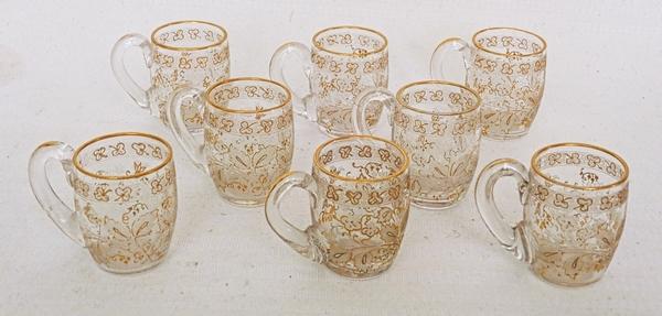 Service à liqueur en cristal de Baccarat gravé et doré à l'or fin, gravure 4360 - 10 pièces