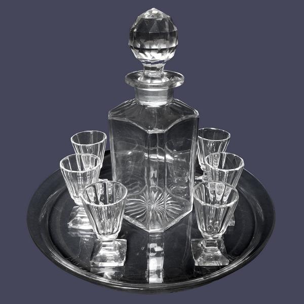 Service à liqueur en cristal de Baccarat taillé, modèle Malmaison - 8 Pièces