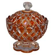 Sucrier / drageoir / confiturier en cristal de Baccarat émaillé orange, signé