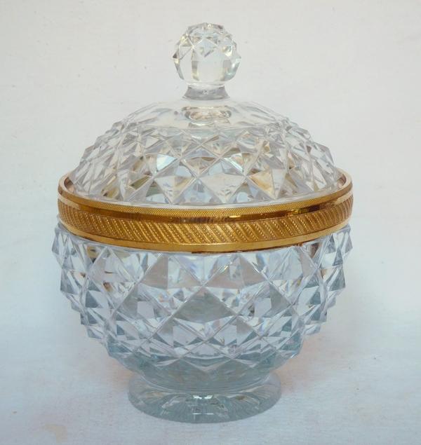 Sucrier drageoir en cristal taillé, monture en bronze doré, Le Creusot ou Baccarat circa 1820