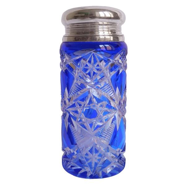 Sucrier - saupoudreuse en cristal de Baccarat, modèle Lagny, cristal overlay bleu