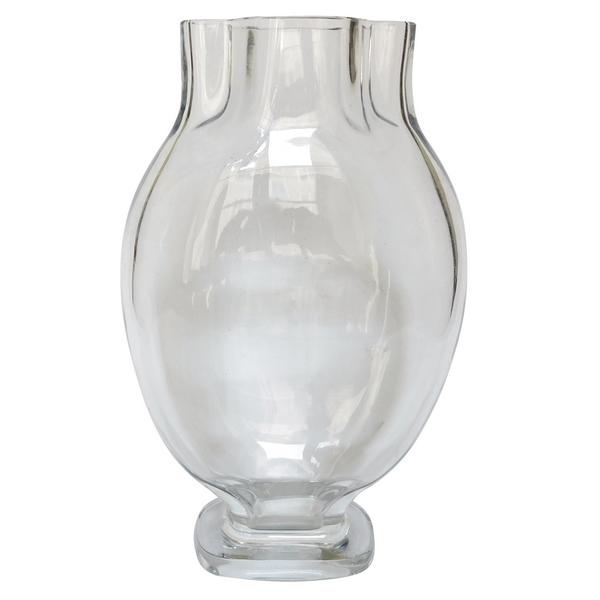 Grand vase en cristal de Baccarat à col quadrilobé - signé