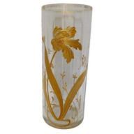 Vase en cristal de Baccarat doré à l'or fin, décor floral