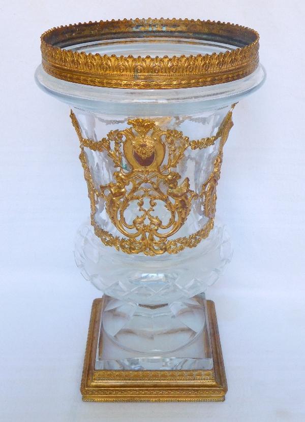 Grand vase Medicis en cristal à monture en bronze doré époque XIXe siècle