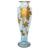 Grand vase en cristal de Baccarat, modèle Platanes doré à l'or fin