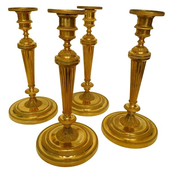 4 flambeaux / bougeoirs en bronze doré, époque Louis XVI - XVIIIe Siècle - château de Fontainebleau