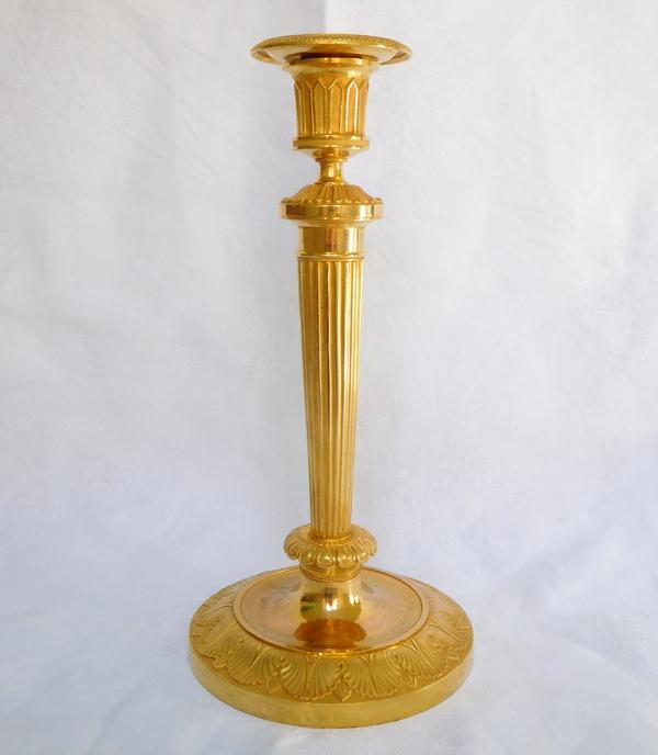 Gérard Jean Galle : grand bougeoir Empire en bronze doré au mercure, modèle du Château de Fontainebleau,