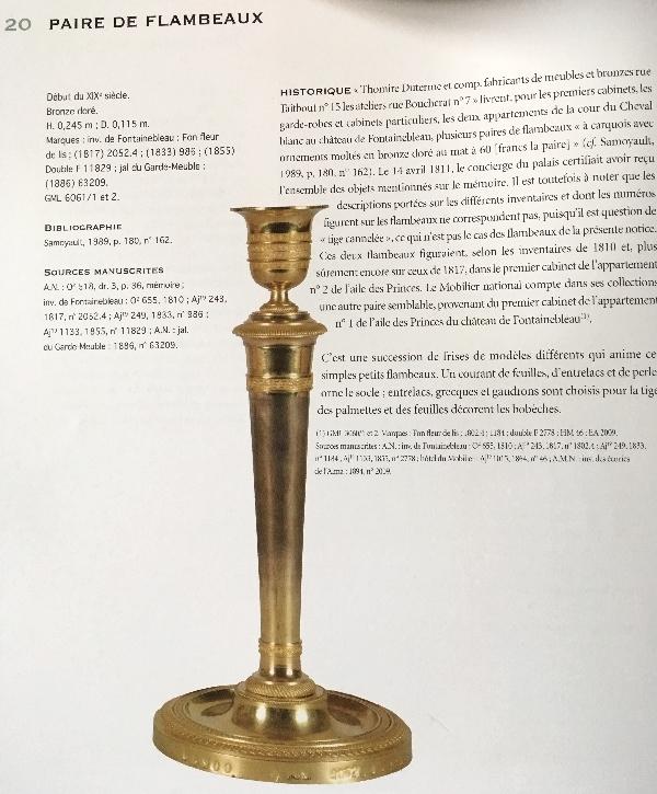 Thomire : bougeoir / flambeau en bronze doré d'époque Empire modèle du château de Fontainebleau