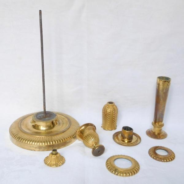 Claude Galle : paire de flambeaux Empire en bronze doré au mercure - 31cm