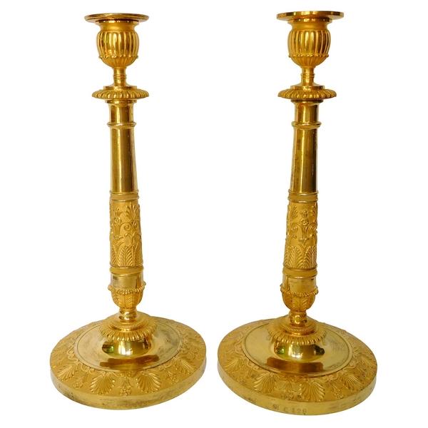 Claude Galle - appartements impériaux du Palais de Compiègne : paire de flambeaux en bronze doré