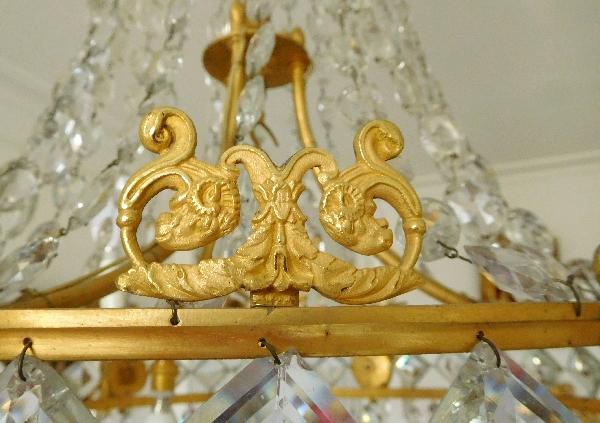 Grand lustre corbeille en cristal et bronze doré au mercure, époque Empire, 9 lumières