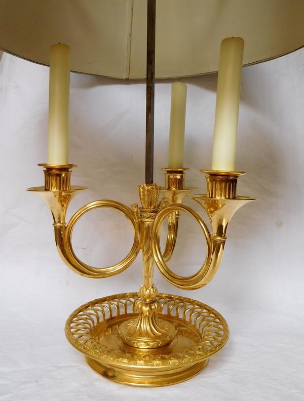 Lampe bouillotte d'époque Louis XVI - Directoire en bronze doré au mercure, XVIIIe siècle