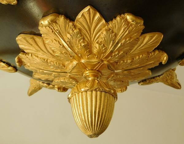 Lustre Empire aux aigles en bronze patiné et doré au mercure, époque début XIXe - 10 feux