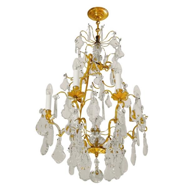 Lustre cage à 6 feux de style Louis XV, pampilles en cristal de Baccarat