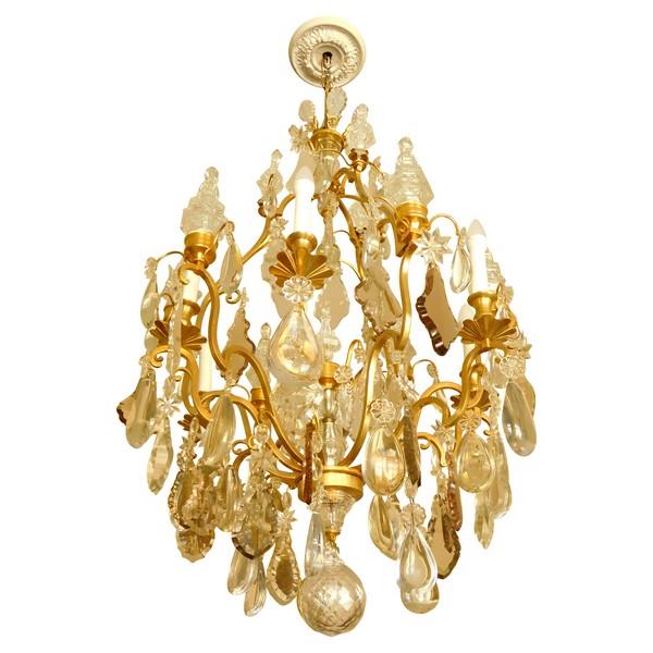 Grand lustre corbeille de style Louis XV à 12 feux, bronze doré et cristal taillé, Maison Bagues