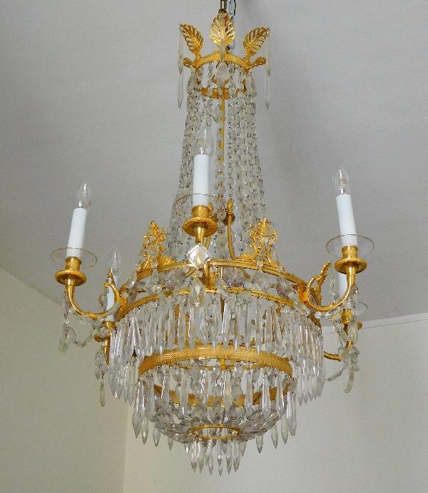 Grand lustre corbeille Empire en cristal et bronze doré au mercure, époque Restauration, 6 feux