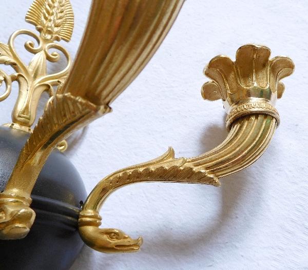 Paire d'appliques en bronze patiné et doré au mercure d'époque Empire - Restauration
