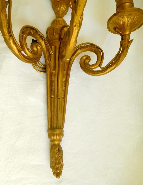 Paire d'appliques de style Louis XVI en bronze doré du Château de Pontchartrain