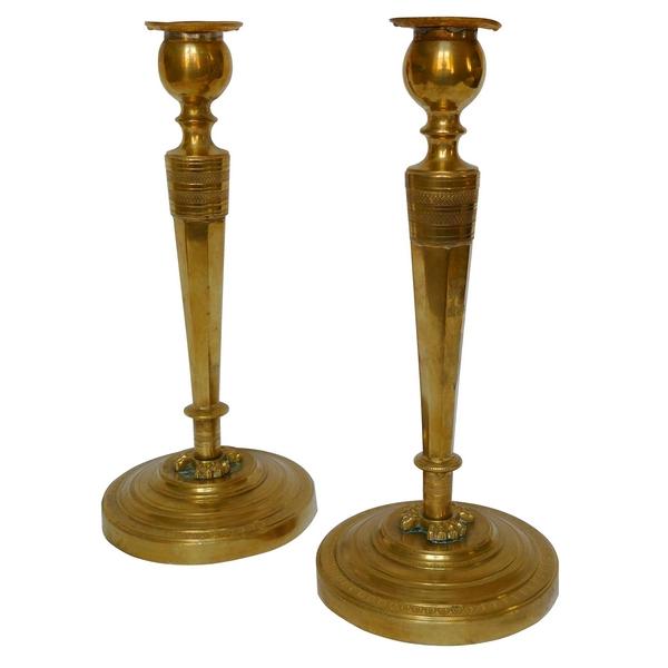 Paire de bougeoirs en bronze doré Empire - Retour d'Egypte, époque Consulat 27cm