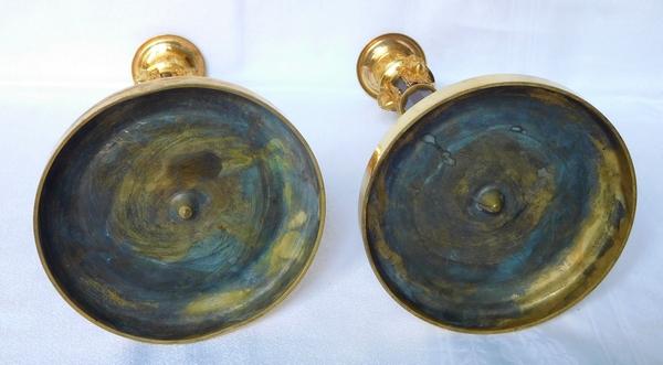 Claude Galle : paire de flambeaux d'apparat en bronze patiné et doré - époque Consulat - Empire