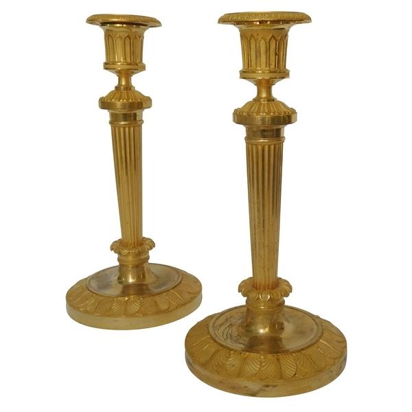 Claude Galle : paire de bougeoirs Empire en bronze doré au mercure, modèle du Château de Fontainebleau