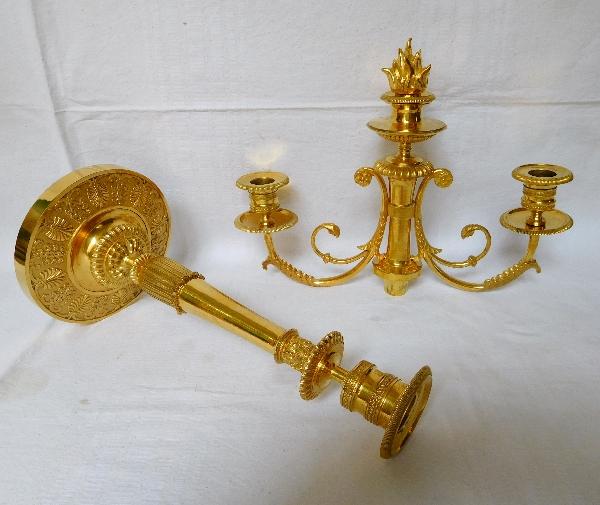 Gérard Jean Galle : paire de candélabres en bronze doré d'époque Empire Restauration