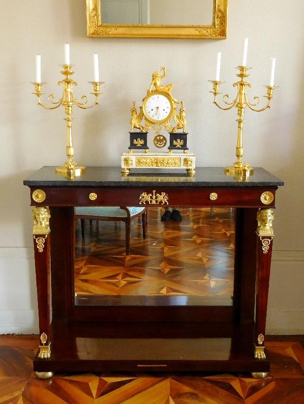Claude Galle : paire de candélabres en bronze doré d'époque Empire Restauration