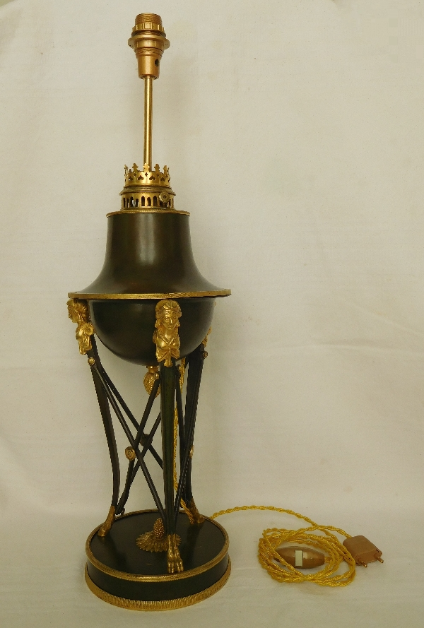 Grande lampe de bureau en bronze patiné et doré au mercure - époque Empire Restauration