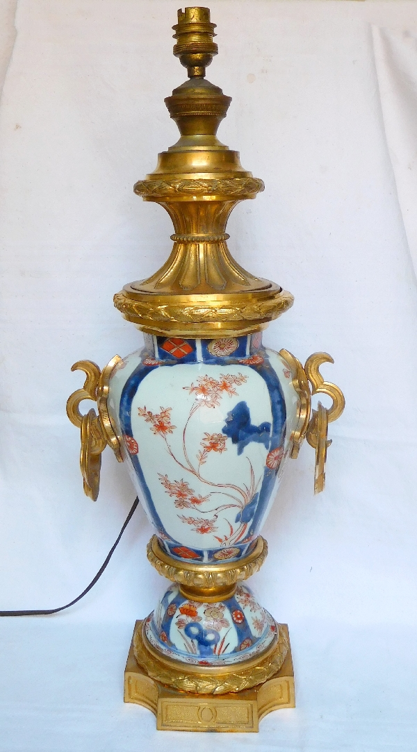 Lampe potiche en porcelaine Imari à riche décor de bronze doré époque Napoléon III