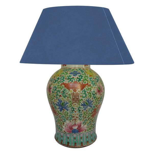 Grande potiche - pied de lampe en porcelaine de Chine famille verte, époque XIXe