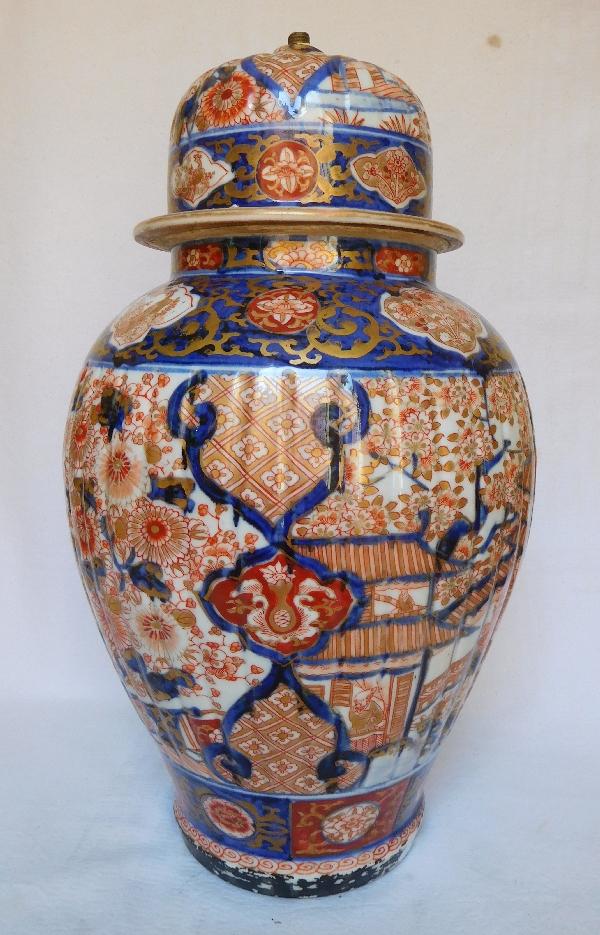 Lampe potiche en porcelaine Imari, Japon, époque XIXe Napoleon III