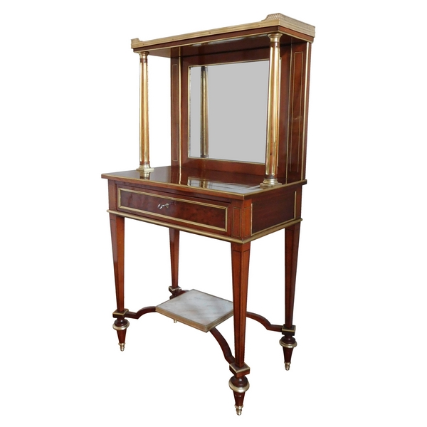 bureau bonheur du jour en acajou mouchet fond de glace fin de l 39 poque louis xvi vers 1800. Black Bedroom Furniture Sets. Home Design Ideas