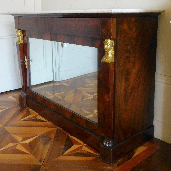 Commode buffet en acajou Empire Retour d'Egypte, fond de glace au mercure