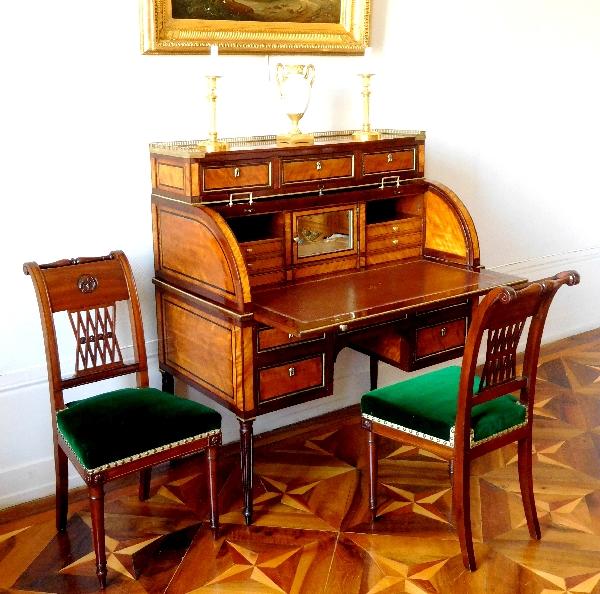 Bureau cylindre en citronnier et acajou, fin de l'époque Louis XVI