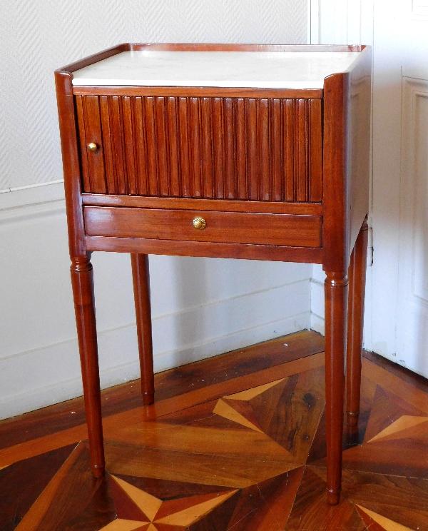 Table de salon ou chevet à rideau d'époque Louis XVI en acajou blond - XVIIIe siècle
