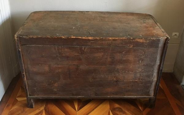 Jean Mathieu Chevallier : commode d'époque Régence Louis XV en bois de violette - estampille