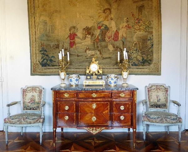 Commode d'époque Louis XVI en marqueterie, estampille de Pierre François Guignard