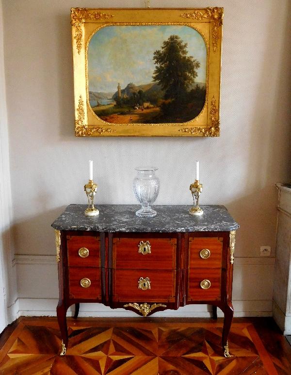 Commode sauteuse en marqueterie d'époque Transition Louis XV Louis XVI - XVIIIe siècle